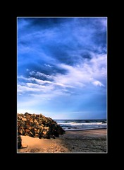 Summer Clouds (whoops vision) Tags: ocean sea summer beach water sunshine clouds sand rocks waves afternoon shoreline bluesky newsouthwales rockwall fingalheads aplusphoto letitiaspit