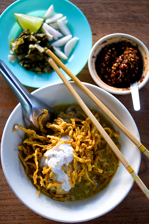 Khao soi at a restaurant in Nan, Thailand