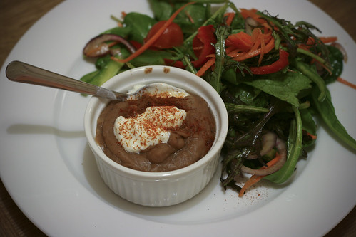 Salad and Refried Pinto Beans with Greek Yogurt