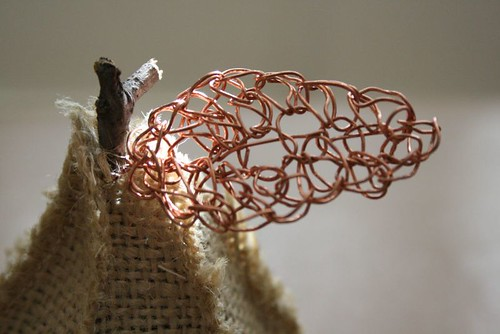 burlap pear with copper leaf