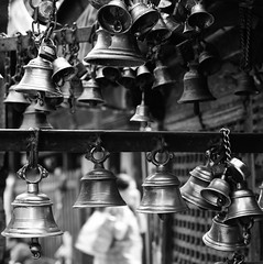 Shrine bells. (ndnbrunei) Tags: nepal blackandwhite bw 120 6x6 tlr film bells rollei rolleiflex mediumformat square shrine kodak bn mf kathmandu nam rolleiflex28f classicblackwhite autaut rolleigallery ndnbrunei neroameta distinguishedblackandwhite