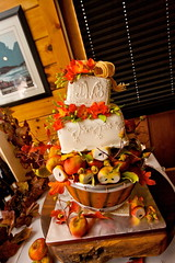 Donna's Cake #1 (Tiffany's Baking Co.) Tags: autumn leaves rustic apples acorns topsyturvy fallthemed