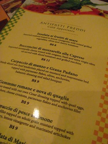 Appetiser menu@Villa Mauri