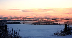 Across Strathmore at dusk from near Inverarity (Ron Dough) Tags: sunset snow scotland angus strathmore