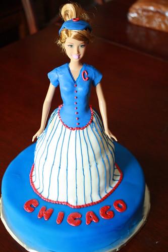 Chicago Cubs Barbie Cake