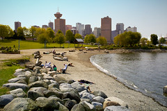 Today in Vancouver: City Beach ([travelfox]) Tags: city canada beach water skyline vancouver rocks bc britishcolumbia canadaplace scotiabank vancouversun vancouverlookout crabpark portsidepark canon50d