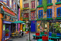 Neals Yard (juliaclairejackson) Tags: city urban london crazy cafe quiet colours vibrant coventgarden colourful february boho bohemian alfresco nealsyard midmorning