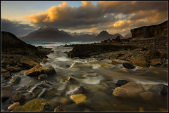 The Cuillins at Sunset (Ally Mac) Tags: longexposure sea mountain snow mountains skye beach water canon river rocks isleofskye rocky stormy snowcapped polarizer capped cullins 1022 silky cpl elgol nd8 40d