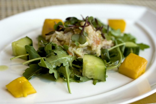 Cucumber and mango salad, peekytoe crab, lemongrass
