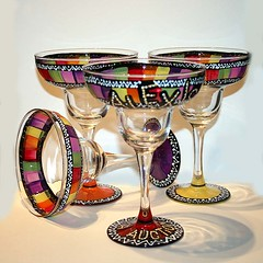 Hand Painted Margarita Glasses (creativespiritoriginals) Tags: sun southwest mexican pitcher sangria cincodemayo margaritaglasses handpaintedglassware lemonadepitcher margaritasert