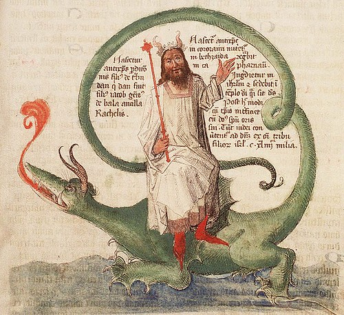 The Hague KB 72 A 23 fol 49r- Dragon dominado por un santo