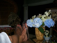 Night time relaxation (jalaughter) Tags: flowers blue bird feet globe porch flipflops vase calamity hydrangas pottingtable jalaughter oakleafhydranga