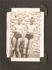 00420 varones (VARONES!) Tags: friends shirtless hot sexy male men rock wall vintage cowboy couple friendship affection boots antique handsome pals homoerotic speedo affectionate bulge varones