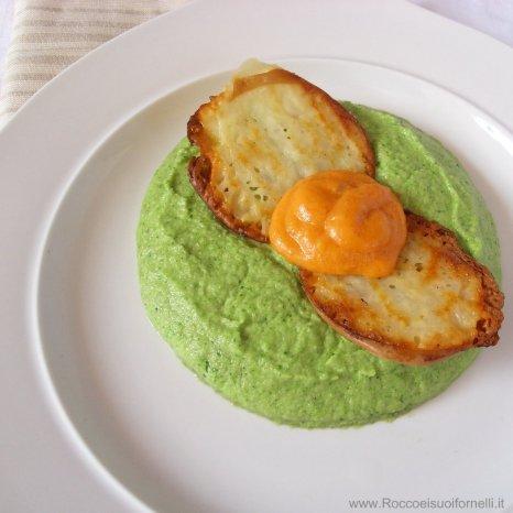 Purea di peperone e broccoli con provola affumicata