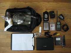 What's in my bag? (vees) Tags: pc kitteh asus geekery eee nokia6133 eeepc bcd396t