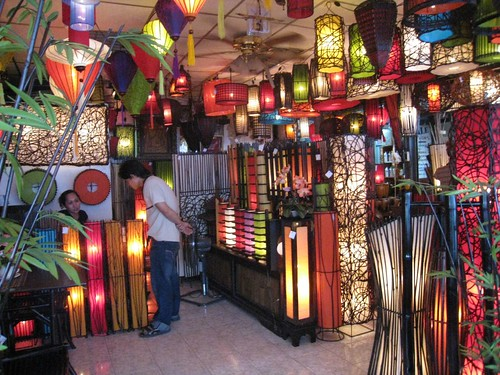 Colorful lantern shop at market