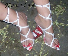 White leather sandals - painted heels  6 (Kwnstantina) Tags: red woman white sexy feet female greek women toes highheels legs sandals nails barefoot heels cigarettes amateur soles gladiator longnails sexyfeet dirtysoles gladiatorsandals
