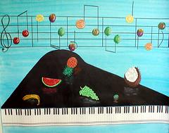 Fruity Tunes (sandy wager) Tags: blue music art fruit cherries keyboard notes coconut folk piano banana lemons pineapple grapes apples oranges naive melon sheetmusic plums kiwifruit canvass acrylc gooseberrries