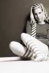 #204/366 - Stripey (CrzysChick) Tags: portrait bw selfportrait me oneaday self myself copycat stripes sp 365 stripey day204 copycats 366 hdt halfdressed project365 fgr 365days 365project threesixtyfive flickrgrouproulette halfdressedtuesday