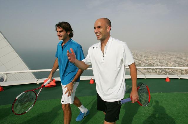André Agassi Roger Federer Burj Al Arab