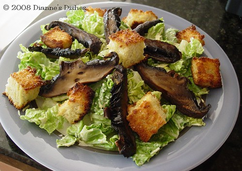 Grilled Portabella Caesar Salad with Sea Salt Croûtons