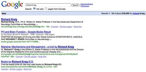 Google search for Richard Kraig