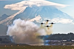 Blue Angels in front of Mt. Rainier (Jeff Engelhardt) Tags: seattle plane airplane fighter f18 mtrainier blueangels seafair photofaceoffwinner photofaceoffplatinum pfogold pfoplatinum explorecherrypop deleteasneeded