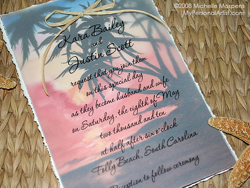 Unique Wedding Invitations Sunset Beach theme for your wedding
