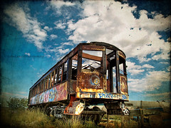 No Longer Needed (evanleavitt) Tags: city railroad blue vacation sky lake texture abandoned car utah alone grafiti salt rr olympus rusted hdr trian e510 photomatix