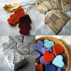 crafting 365 - days 220 - 223 (lilfishstudios) Tags: decorations vintage hearts recycled handmade craft wip oakleaves envelopes repurposed origamiboxes lilfishstudios feltedwoolsweater crafting365