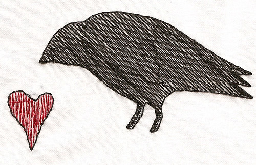 wool crow with heart