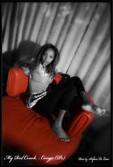 My Red Couch - Congo (Ps) (deste64) Tags: family portrait black girl beauty photoshop african mamma wife congo 2008 alix nikonsb800 pointenoire nikond80
