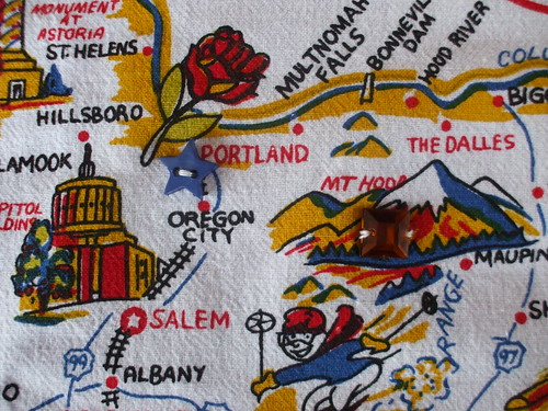 embellished Portland and Mt. Hood on my curtains