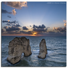 The Pigeons' Rock :: Vertorama (DanielKHC) Tags: sunset panorama lebanon seascape rock vertical digital high nikon bravo dynamic dusk pigeons beirut range dri increase hdr blending d300 dynamicrangeincrease raouche 5exp tamron1750mmf28 danielcheong bratanesque danielkhc vertorama gettyimagesmeandafrica1