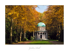 Golden Path (Philipp Klinger Photography) Tags: autumn light friedhof sun tree green fall cemetery grass leaves germany deutschland gold golden hessen frankfurt gans mausoleum cupola dome pillars philipp hesse kuppel klinger hauptfriedhof aplusphoto dcdead vanagram