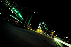 curbfront (TerryJohnston) Tags: street nightphotography light electric night power michigan grandrapids streetscape exposures longexposures grap vanandelarena amazingmich walkingthestreetsatnight drwawingoutthefstop