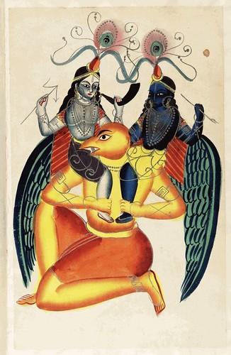 0010- Garuda- Vishnu con forma de pajaro montado por Krishna y Badarama
