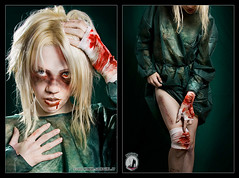 Reanimator (annalucylle) Tags: blood zombie medical gore stitches undead reanimator bruises bmovie hospitalgown lampista strobist