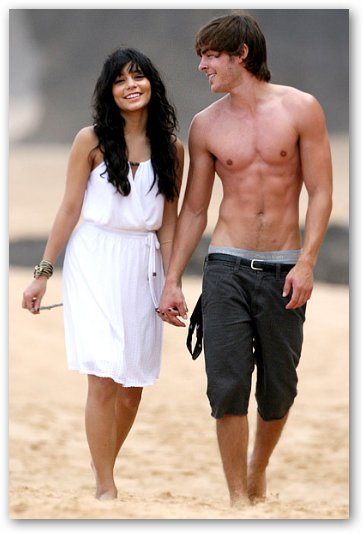Zac Efron and Vanessa Hudgens on Hawaii Beach
