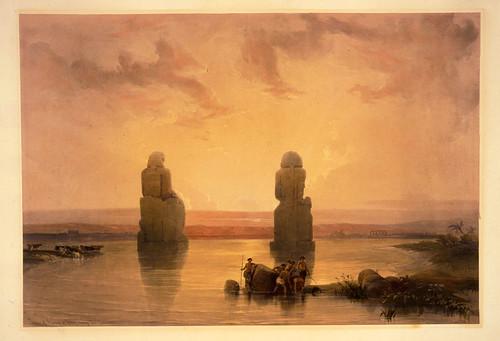 013- Estatuas de Memnon en Tebas durante la inundacion- David Roberts- 1846-1849