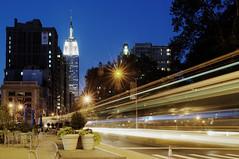 Lines in The City (Tony Shi Photos) Tags: park nyc newyorkcity longexposure traffic manhattan broadway midtown madison empirestatebuilding flatirondistrict    nikond700 goldstaraward    thnhphnewyork  tonyshi