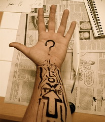 quills & ink :: follow the flow? (schlaeps) Tags: art stain ink flow newspaper thought hand arm follow question quill