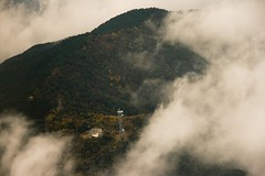 Tower on High (elrina753) Tags: mist mountain mountains tower japan clouds asia towers aerialview yamaguchi iwakuni aerials radiotower yamaguchiprefecture