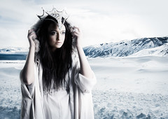 Snow Queen (Daniel Tckmantel) Tags: blue winter woman white snow mountains cold ice fairytale clouds frozen dress freezing arctic fantasy crown brunette snowqueen icequeen iceprincess snowprincess rmitphotography