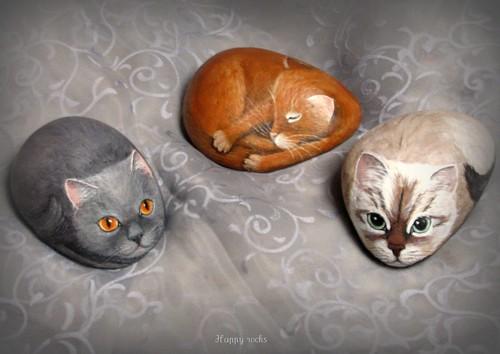 Trio de chats par rockpainting yvette