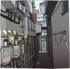 (George Pollard) Tags: door urban colour sign japan illustration artwork shinjuku hanazono drawing pipes picture cables wires alleyway illustrator detritus fishmarket meters vector lineart artfair ventilation hardboiledwonderland ventilators goldenstreet  vectorised goldbegai