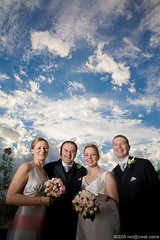 Hibberd Tickler Wedding (neilcreek) Tags: blue wedding girls party sky anna woman man men guy girl smile weather clouds groom bride women dress angus flash smiles dramatic guys celebration bridal tickler boquet lowangle hibberd strobist angushibberd sophietickler annahibberd