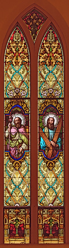 Saint Cecilia Roman Catholic Church, in Bartelso, Illinois, USA - stained glass window of the Apostles James the Greater and Andrew