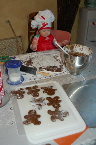 Rolling out Gingerbread Men with Mom