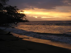 stormy daybreak (bluewavechris) Tags: ocean sea sky orange sun mountain storm color tree beach water clouds sunrise hawaii sand low wave maui kona 121108